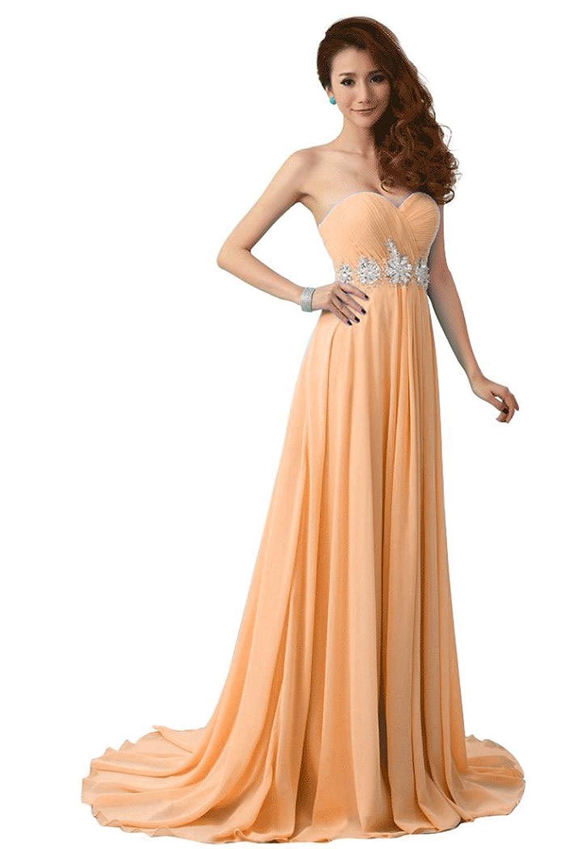 Beauty-Emily Frauen trägerlosen Kristall lange formale Abendkleider,Champagner,Größe 44