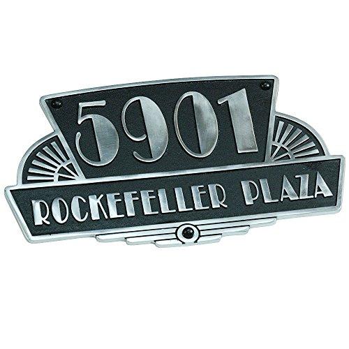 [해외]금속 Foundry.Ltd에 의해 맞춤 집 번호 플레이트 - 1 조각 아트 데코 Rockefeller 스타일 하우스 주소 신호 단단한 캐스트 알루미늄으로 만든 손/Personalized House Number Plates By The Metal Foundry.Ltd ? 1 Piece Art Deco Rockefeller Style ...