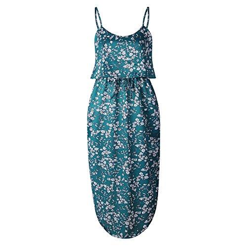 Las Vestido Flojo Largo Cuello Dressfloral Sin O Mujeres Mangas Parte 02 Color Camiseta Playa Verano XINGMU Pierden xPwXqzpvP