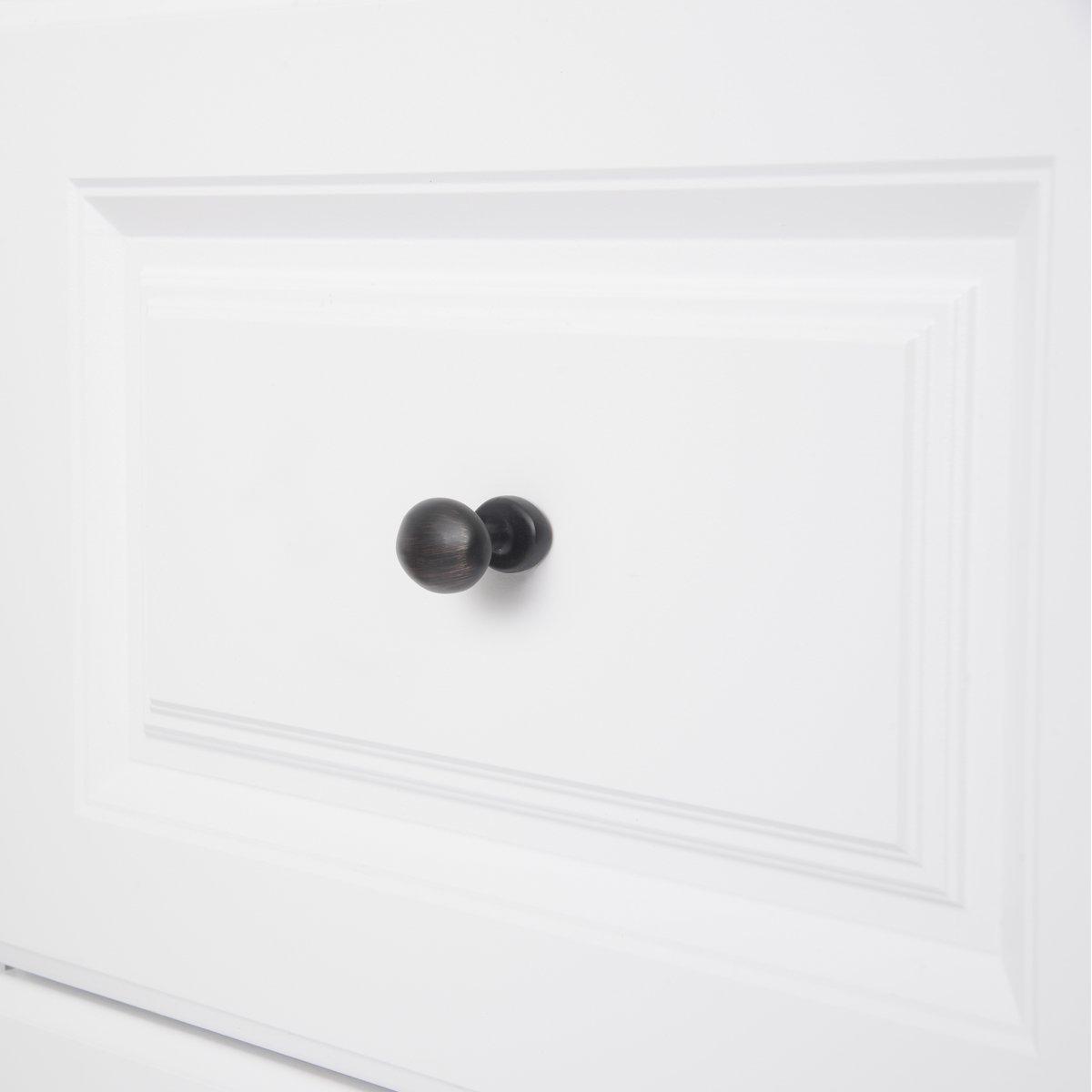 negro liso 3,59 cm de di/ámetro paquete de 25 Basics con forma de bal/ón de rugby Pomo de armario