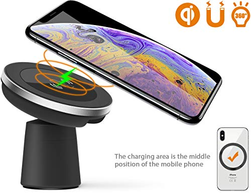 Wireless Car Charger, Dgtal 2 in 1 Magnetic Vehicle Mount Phone Holder Air Vent or Dashboard for iPhone XS/XS Max/iPhone XR/iPhone X/ 8/8 Plus Samsung Galaxy Note 9/S9/S9 Plus All Qi-Enabled Devices