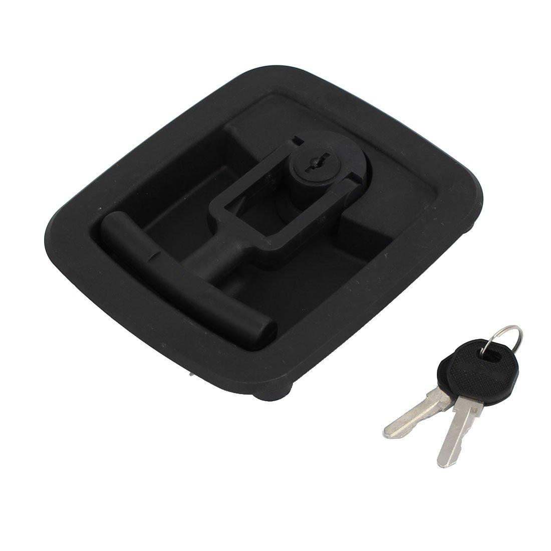 uxcell Door Toolbox Plastic Folding T-handle Security Latch Lock Locker Black w 2 Keys by uxcell (Image #3)