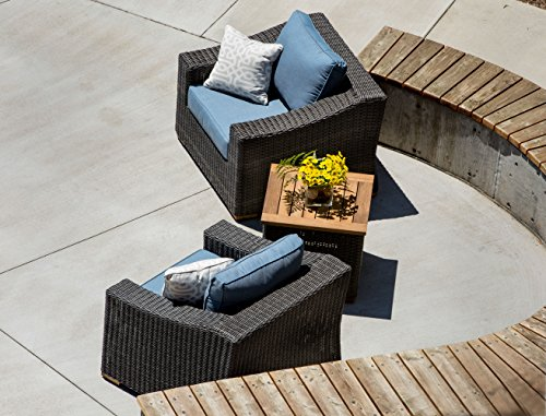 La-Z-Boy Outdoor New Boston Resin Wicker Patio Furniture Side Table - Bring Quality La-Z-Boy Outdoor Furniture to your patio and experience the relaxing comfort and quality known to La-Z-Boy. Perfect for deck, porch, firepit,and poolside relaxing, conversation, and drinks. Slat top side table features beautiful teak wood. Transitional styling and neutral gray frames add a stylish flair to any outdoor area - patio-tables, patio-furniture, patio - 51SN4VhaSyL -