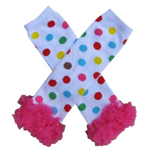Chiffon Ruffle Halloween Costume Spooky Styles Leg Warmers - One Size - Baby, Toddler, Girl (Chiffon Clown Polka Dots)