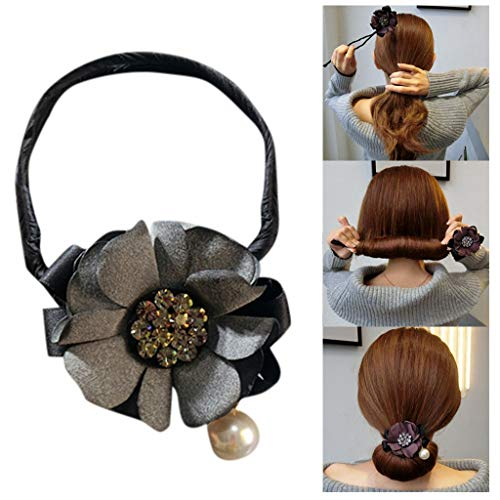 Iusun Hair Clip Headdress Ring Flower&Drill Step-by-Step Styling Ties Accessories Easy Use to Elegant Hairstyle Perfect Tool for Daily Life School Party Wedding Graduation Prom (Gray) (Elegant Hairstyles For Long Hair Step By Step)