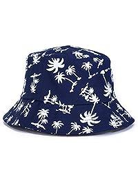 King Star Graffiti Flat Bucket Cap with Coconut Tree Pattern Outdoor Sun Hat