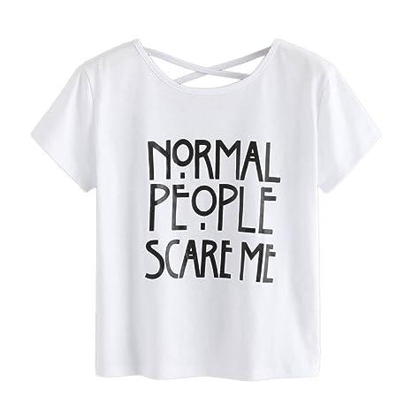 e60e37ebe Womens Tops, Women Short Sleeve Letter T-Shirt Juniors Casual Cute Tee  Shirts Cross Back Summer Tops Blouse at Amazon Women's Clothing store:
