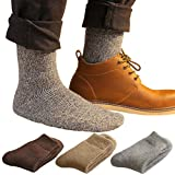 Men's Winter Soft Wool Socks Thick Heavy Keep Warm Knit Socks for Extreme Cold Weather Quarter Crew Socks