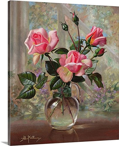 Madame Butterfly Fabric - Albert Williams Premium Thick-Wrap Canvas Wall Art Print entitled Madame Butterfly Roses in a Glass Vase 20