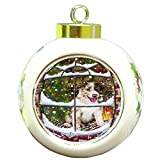 Please Come Home For Christmas Border Collies Dog Sitting In Window Round Ball Ornament D386