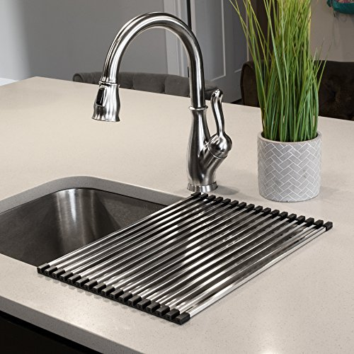 Ticor Stainless Steel Square-Tube Roll-Up Over-The-Sink Drying Rack (16.75