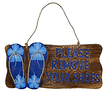 Please Remove Your Shoes Wood Sign with Blue Flip Flops and Tropical Flowers