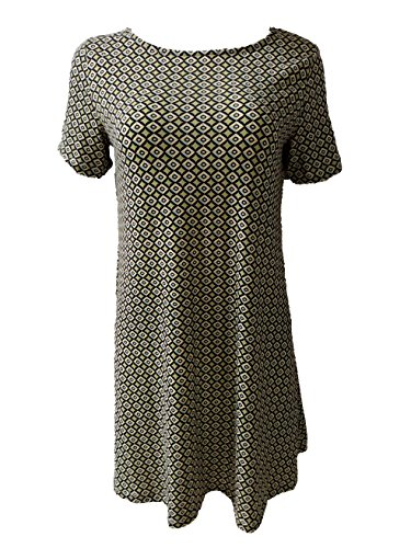 OEUVRE Women's Casual Printed Long Sleeve Shift Dress color-8-1 ,Size