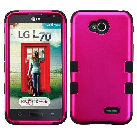Asmyna TUFF Hybrid Phone Cover for LG Optimus Exceed 2/L70 - Retail Packaging - Titanium Solid Hot (Lg L70 Optimus Black Cases)