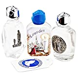 Glorious Bernadette Lourdes Holy water in 3 beautiful Glass bottles - Filled with authentic Lourdes Holy water