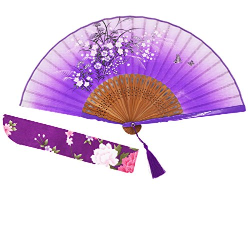 Amajiji 8.27 Beautiful Hand-Crafted Chinese Japanese Hand held Folding Fan with First-Class Bamboo Spins and Traditonal Silk Fabrics HBSY (001)