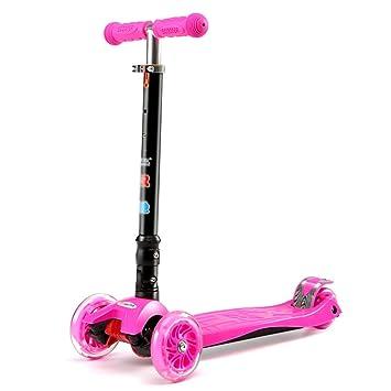Patinete- Kick Scooter Rosa para Niños Pequeños, 3 Ruedas para Niños Scooters con Ruedas De PU Flasing, Altura Ajustable: Amazon.es: Hogar