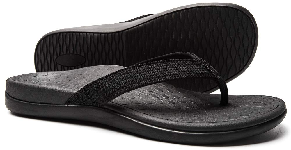 SOARFREE Plantar Fasciitis Feet Sandal with Arch Support - Best Orthotic flip Flops for Flat Feet,Heel Pain- for Women (9 M US, Black)