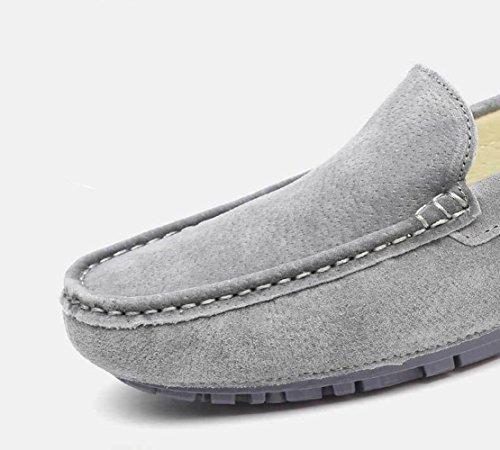 Ville Cuir Taille Bateau Noir De Sk Grande Studio Chaussures Loafers Mocassin Hommes Conduite Gris Pour nwOPpCSq