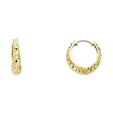 92e243a68b8e6 Amazon.com: Solid 14k Yellow Gold Fancy Huggie Hoop Earrings Round ...