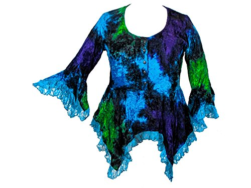 Darkstar Dye - Dark Star Turquoise Green Purple Gothic Velvet Lace Renaissance Bell Sleeve Top (TAGGED LFITSLXL)
