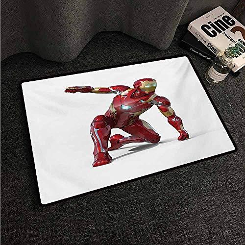 HCCJLCKS Waterproof Door mat Superhero Robot Transformer Hero with Superpower in Costume Cyber Man Fun Character Print Machine wash/Non-Slip W31 xL47 White Maroon]()