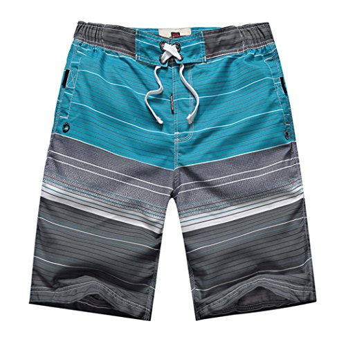 MOUNTEC Men's Swim Trunks Stripes Printing Board Shorts Gray Stripe Medium