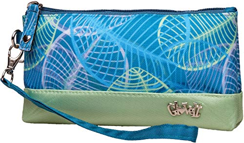 Glove It Womens Wristlet Wallet Zipper Wristlets for Women - Ladies Wristlet Purse - Removable Strap for Keychain - Make Up, Cell Phone, Smartphone, Travel, Credit Cards - 2019 Aqua Leaf