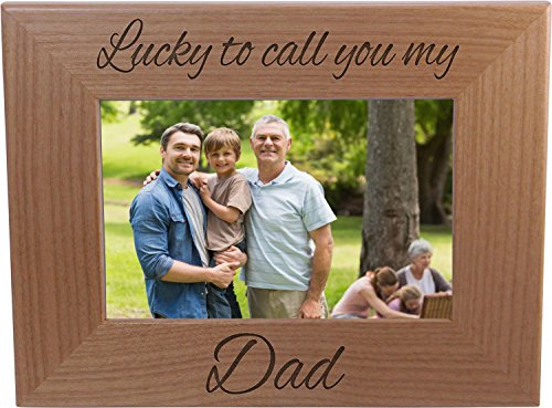 Day Picture Frame - Lucky To Call You My Dad - Wood Picture Frame Holds 4x6 Inch Photo - Great Gift for Father's Day Birthday or Christmas Gift for Dad Grandpa Papa Husband