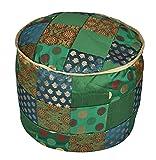 Lalhaveli Round Designer Footstool Floor Cushion Cover 17 X 17 X 13 Inches