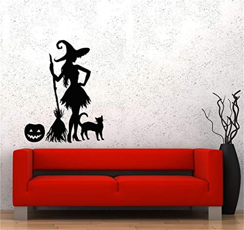 Cexpial Wall Decal Sticker Mural Vinyl Arts and Sayings Mural Art Halloween Pumpkin Witch Broom Black Cat Magic Monster
