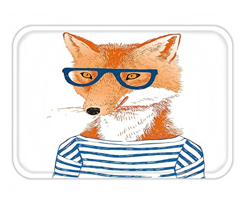 Minicoso Doormat Modern Hipster Woman Fox with Glasses and Striped Shirt Humor Character Animal Print Blue Orange White (Striped Shirt Cincinnati Reds)