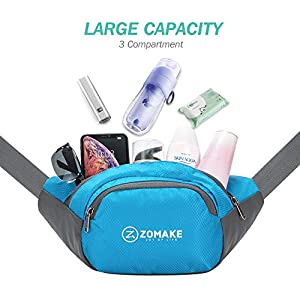 ZOMAKE Fanny Pack Water Resistant Waist Bag Hip Bum Bag for Men and Women, Large Compartment with Adjustable Strap for Outdoors Workout Traveling Casual Running Hiking Cycling(Light Blue)