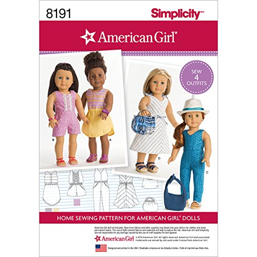 Pattern Doll Clothing 18 - Simplicity 8191 American Girl 18'' Doll Summer Clothing Sewing Patterns
