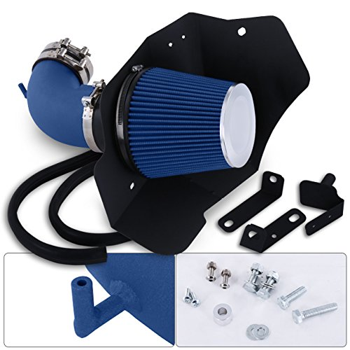 For Cadillac Cts-V 6.2L 6.2 Liter V8 High Flow Induction Air Intake System + Heat Shield Blue Wrinkle Piping Kit