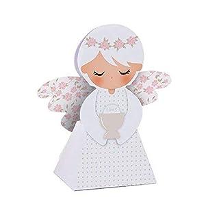 20 PEZZI Portaconfetti a forma di ANGELO ROSA COMUNIONE bambina scatolina carta BOMBONIERA Dolgetta