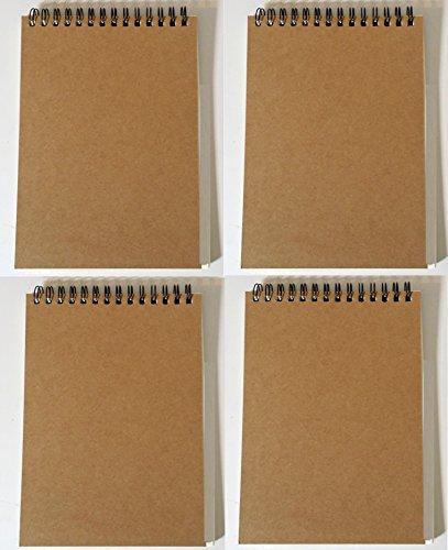 Notepads with Kraft Paper Covers (5 x 7 Spiral Steno Set of 4) by K-Kraft Kinder-Kraft