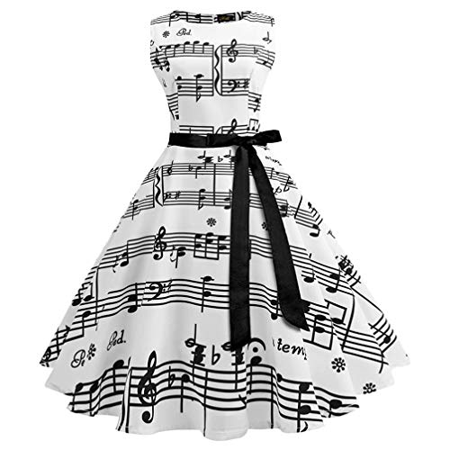 Vintage Tank A-line Musical Notes Print Audrey Hepburn Style Belt Evening Dress