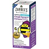Zarbee's Naturals Children's Complete Cough Syrup + Immune Nighttime with Dark Honey & Elderberry, Natural Berry Flavor, 4 Fl. Ounces
