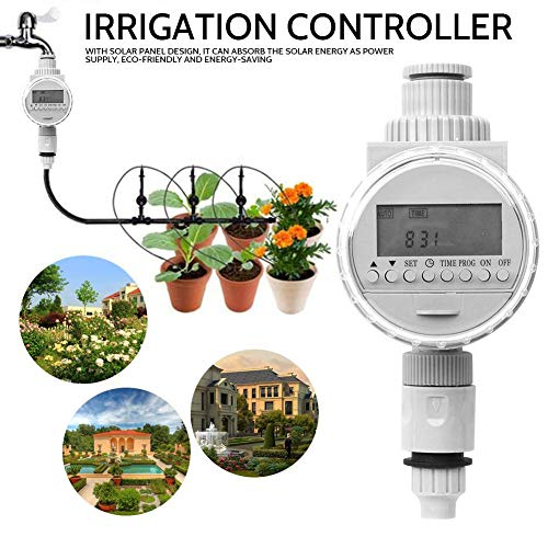 Nicemeet Solar Controller Irrigation Controller, Agricultural Home Garden Irrigation Water Saving Intelligent Automatic Watering Timer (2 Colors)