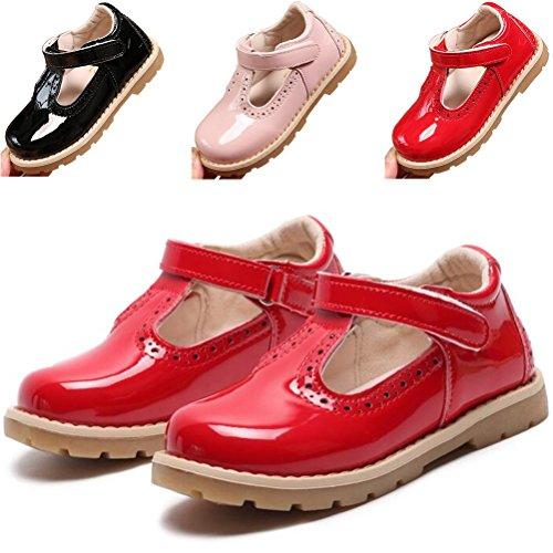 DADAWEN Girl's T-Strap School Uniform Dress Shoe Mary Jane Princess Flat Red US Size 8 M Toddler ()