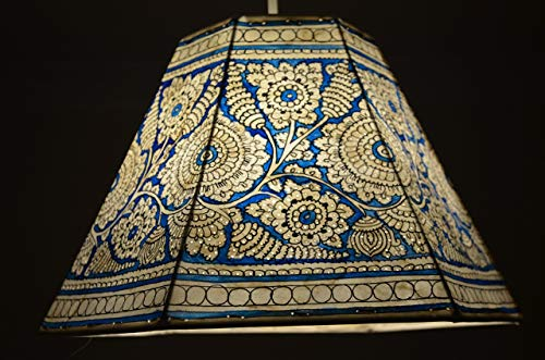Sea Blue Pendant lampshade   Large Ceiling Floral Pattern lampshade in Blue  Chayaa's Unique Light shade   Handmade Pendant Shade - Height-9.5 inches, Width-16 inches