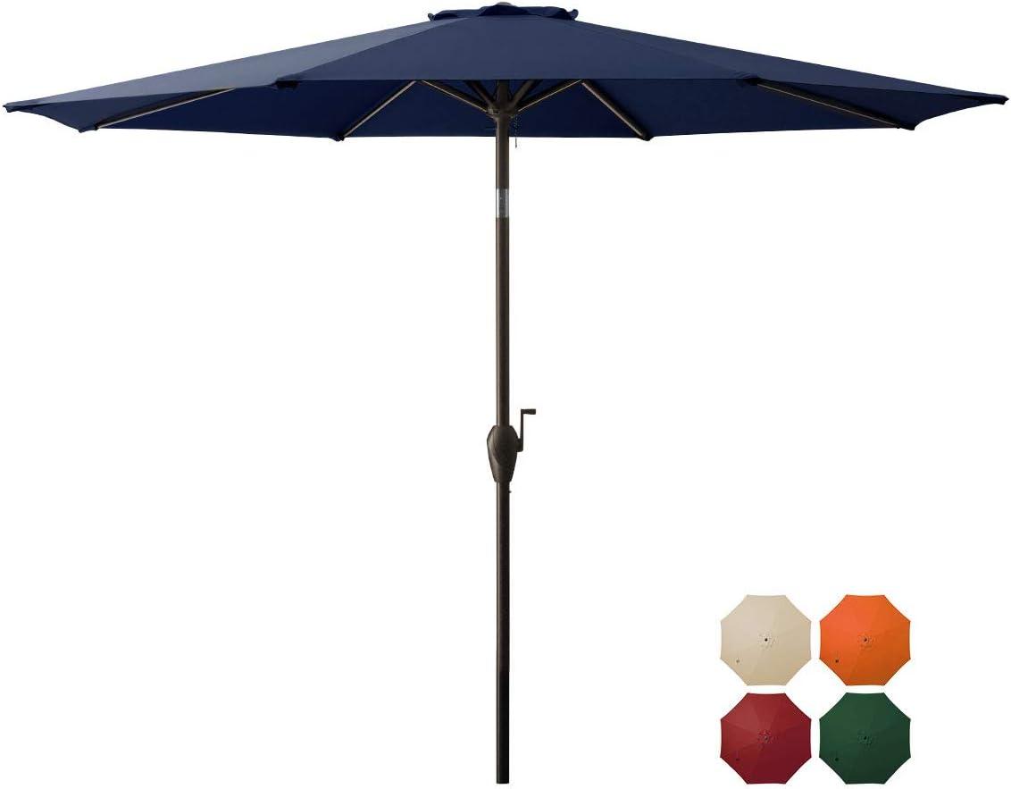 TUMUCUTE 9ft Patio Umbrella Outdoor Umbrella Market Table Umbrellas with Push Button Tilt, Crank and 8 Sturdy Ribs for Lawn, Garden, Deck, Backyard & Pool-Nvay Blue