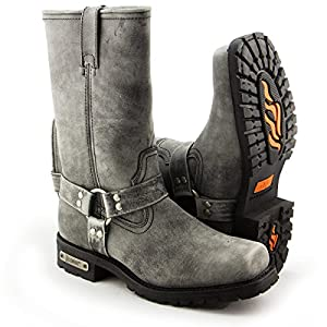 Xelement LU1605 Mens 13in Stone Wash Black Leather Harness Motorcycle Boots - 13