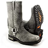 Xelement LU1605 Mens 13in Stone Wash Black Leather Harness Motorcycle Boots - 11
