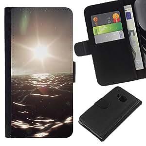 YiPhone /// Tirón de la caja Cartera de cuero con ranuras para tarjetas - Océano Oscuro - HTC One M9