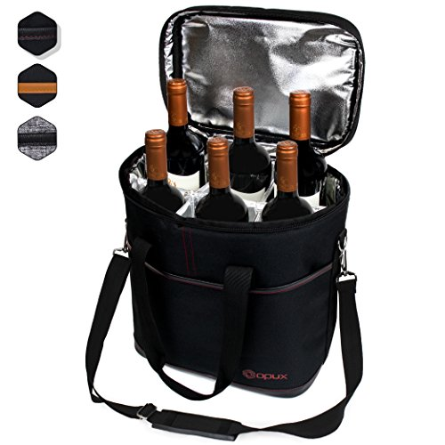 Wine Bottle Insulated Carrier (Premium Insulated 6 Bottle Wine Carrier Tote Bag | Wine Travel Bag with Shoulder Strap and Padded Protection | Wine Cooler Bag (Black))
