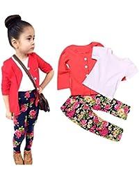 Creazy 1Set Kids Toddler Girls Long Sleeve T-Shirt Tops+Coat+Pants Clothes Outfits (6T)