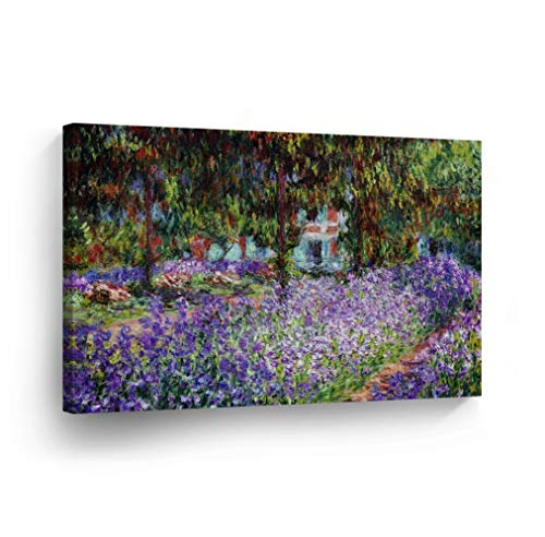 The Artist's Garden at Giverny by Claude Monet Canvas Wall Art Canvas Print Famous Art Painting Reproduction Fine Art Oil Paintings Modern Art Home Decor Ready to Hang-%100 Made in The USA- 8x12 ()