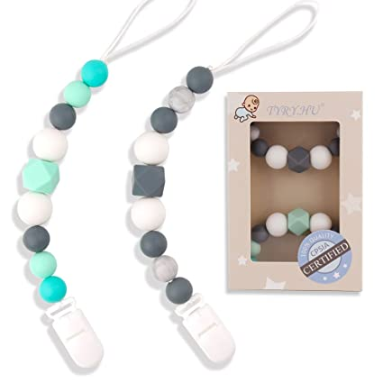 Baby Teething Toys BPA Free Pacifier Dummy Chain Clip Holder Unique Gender Neutral Baby Gifts for Newborn Boy or Girl Sensory Silicone Chew Beads for Babies 2 Pack